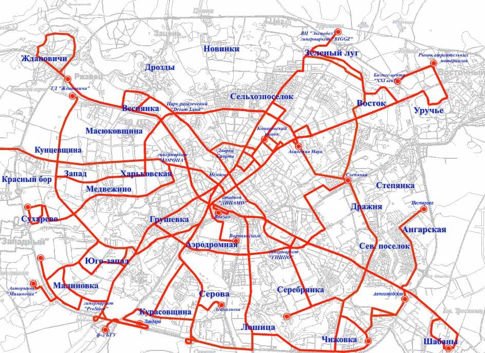 Карта всех маршрутов